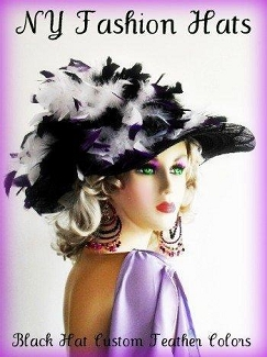 Black Wide Brim Designer Church Hat With Custom Feather Color Choices