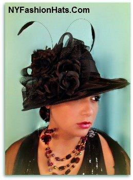 Ladies Black Designer Fashion Hat Special Occasion Tea Hats YBG3