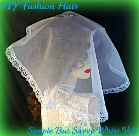 White Black Lace Veil Face Head Cover Church Mantilla Bridal Hat 4ZQLH