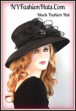 Ladies Designer Black Designer Hat Women's Formal Dress Hats B2RJ