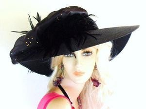 Black Gold Fashion Dressy Formal Hat Ladies Designer Hats 4ZWL