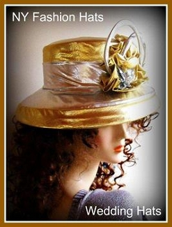 Gold Silver Designer Formal Hat, Hats For Weddings, NY Fashion Hats