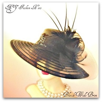 Ladies Black Dress Designer Fashion Hat Formal Hats For Women 5HB9