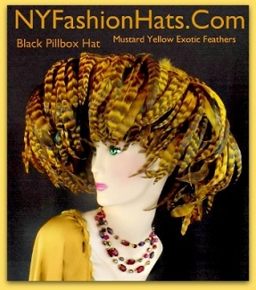 Black Mustard Yellow Designer Hat With Feathers Ladies Fashion Hats 7D