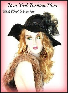 Ladies Women Black Floppy Wide Brim Designer Hat Winter Hats 7432