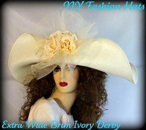 Ivory Or Black Fashion Designer Wide Brim Hat Ladies Church Hats 4YQV