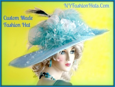 Turquoise Blue White Wide Brim Dress Church Hat Ladies Fashion Hats