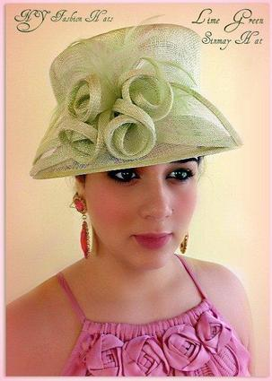 Green Fashion Designer Dressy Formal Ladies Hat 4GPL