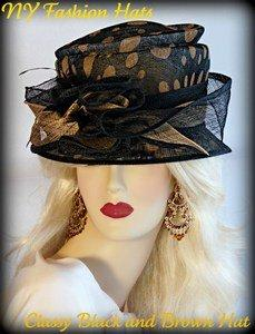Black Brown Animal Print Dress Straw Hat Church Hat Ladies Hats 4KL