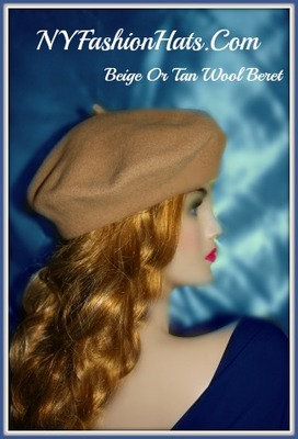 Wool Beret Cap Navy Black Green Tan Beige Burgundy Ivory Brown Hats