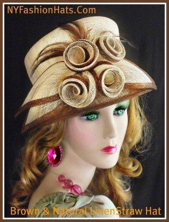 Brown And Natural Fashion Designer Dressy Formal Ascot Ladies Hat 2UNL