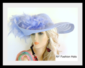 Dress Hats Wide Brim Ladies Designer Blue Custom Hat With Feathers 4G
