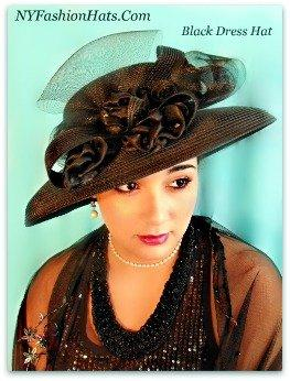 Women's Black Or Beige Designer Hat with Satin Rosettes Formal Hats