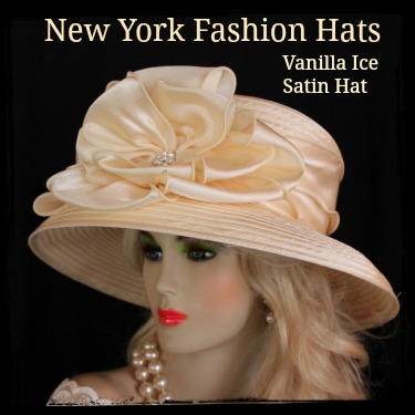 Champagne Beige Ivory Black Satin Hat Designer Dress Hats 7KMC