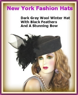Ladies Charcoal Grey Designer Pillbox Hat With Black Feathers Hats