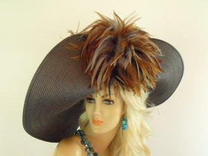 Brown Taupe Grey Tan Special Occasion Designer Ladies Hat 4MNP