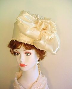 Ladies Ivory Formal Pillbox Straw Braid Satin Hat Wedding Bridal Hats