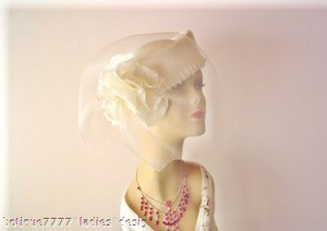 Ladies Ivory Pillbox Church Wedding Bridal Dress Hat, NY Fashion Hats