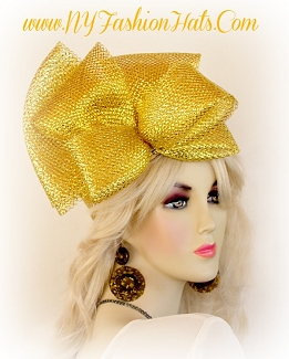 Metallic Gold Or Silver Designer Pillbox Fashion Hat Wedding Hats SW2