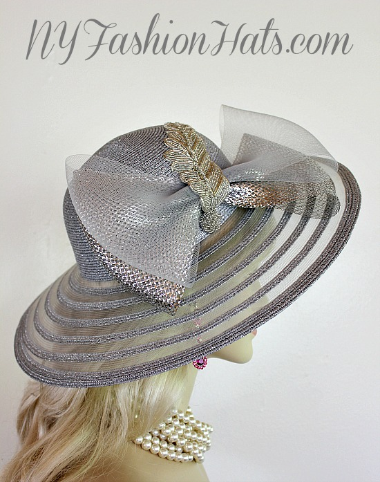 Women s Metallic Silver Wide Sheer Brimmed Fashion Designer Haute Couture  Hat Headpiece Trimmed With A Grey Crinoline Horse Hair Bow eab9298524f