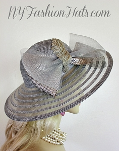 Metallic Silver Wide Brim Special Occasion Designer Hat Dress Wedding Hats