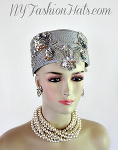 Silver Grey Metallic Silver Pillbox Cocktail Hat Wedding Headpiece