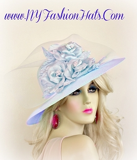 Baby Sky Blue Dressy Special Occasion Hat Kentucky Derby Hats 2237