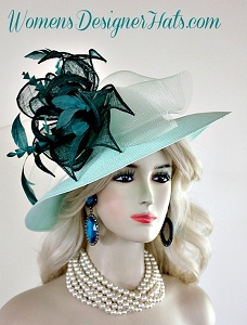 Ladies Mint Jade Green Wide Brim Formal Wedding Hat Couture Dress Hats