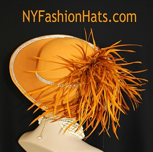 Ladies Mustard Yellow Antique Gold Burnt Orange Winter Wool Designer Hat, Church Wedding Formal Dress Hats