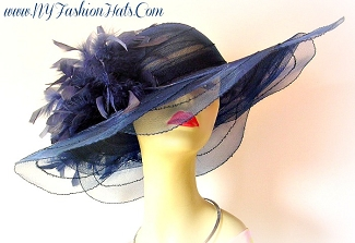 Navy Blue Fashion Designer Hat Ladies Wide Brim Dress Hats 2RZQ