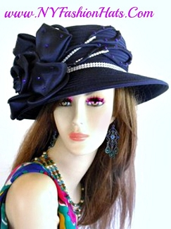 Navy Blue Black Purple Satin Dress Church Wedding Formal Hat 87T0