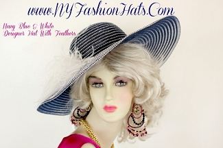 Navy Blue White Wide Brim Designer Hat With Feathers NY Fashion Hats