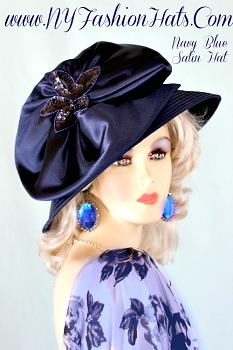 Ladies Navy Blue Satin Designer Church Formal Hat NY Fashion Hats