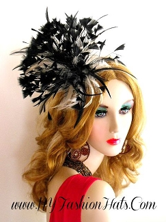 Black Ivory Wedding Fascinator Cocktail Hat Satin Headband Feathers