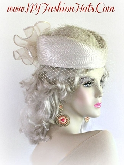 Beige Pillbox Church Bridal Wedding Formal Ladies Veil Hat 8ZQL
