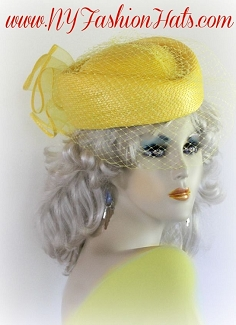 Yellow Pillbox Church Bridal Wedding Hat Formal Ladies Veil Hats UQ20