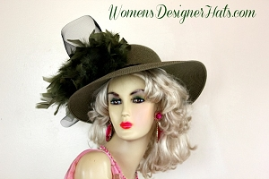 Designer Hats Olive Green Black Kentucky Derby Hat, Women's Dress Hats