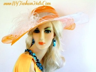 Ladies Orange Wide Brim Designer Hat With Feathers Custom Hats