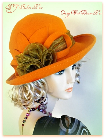 Ladies Orange Wool Felt Winter Designer Hat Organza Roses Dress Hats