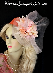 Orange Pink Cocktail Hat Vintage Inspired Bridal Women's Designer Hats