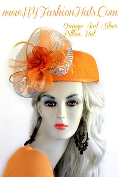 Ladies Orange Designer Pillbox Hat Linen Flower Metallic Silver Bow U84