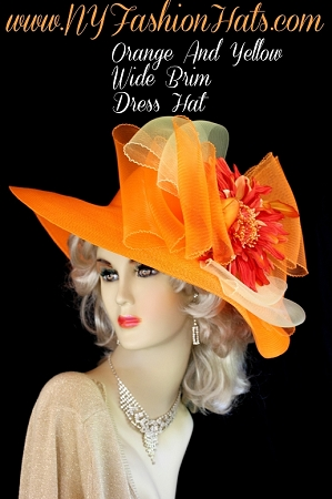 Ladies Orange Yellow Designer Hat With A Flower Church Dress Hats Y88