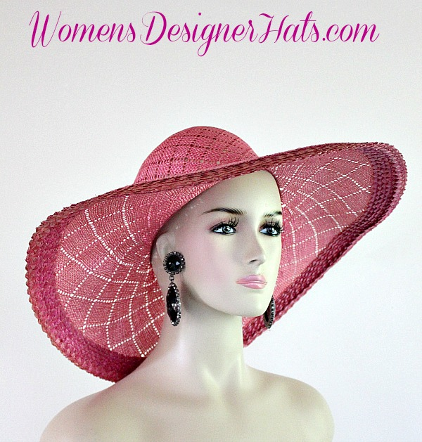fdff7a929a9 Oscar de la Renta Hot Pink Vintage Straw Couture Wide Brim Designer Hat For  Woman. A Beautiful Diamond Pattern Runs Throughout The Entire Hat.