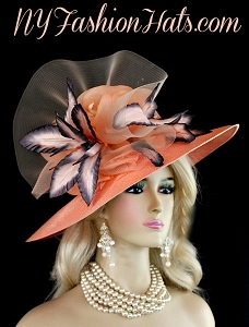 Ladies Peach Charcoal Grey Kentucky Derby Designer Hat NY Fashion Hats