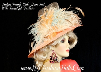 Kentucky Derby Hats Peach Ivory Aqua Designer Hat NY Fashion Hats YYR