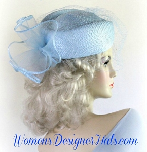Hat Light Blue Wedding Bridal White Ivory Pillbox For Women Hats