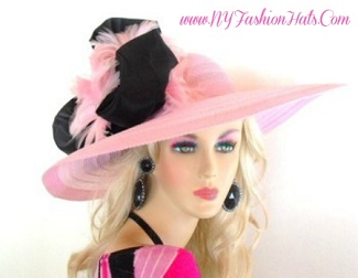 Pink Wide Brim Designer Church Hat Ladies Custom Hats 7YGW
