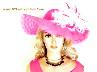 Pink Navy Red Black White Ivory Purple Lime Turquoise Wide Brim Hat