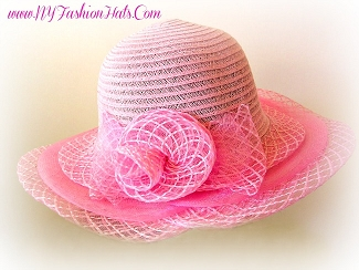 Ladies Pink Ivory Butter Cream White Church Hat Designer Hats ZB89
