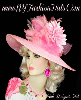 Pink Wide Brim Dress Formal Kentucky Derby Church Hat NY Fashion Hats